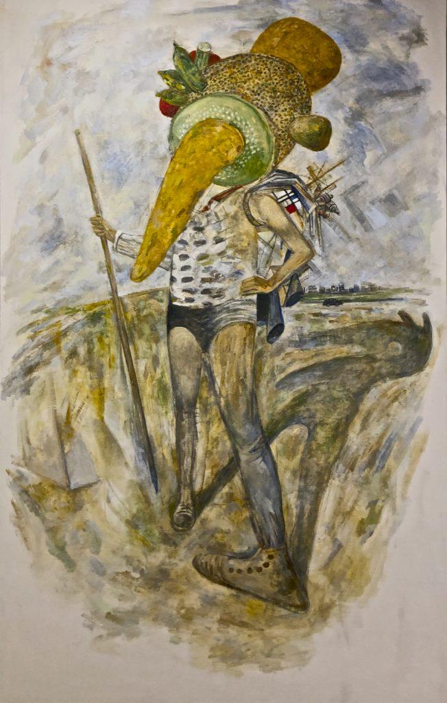 Arcimboldo, Courbet, Cézanne, Arbus, Mondrian Ghost (The Pilgrim), 2018 oil on canvas, 84.5 x 53.5 inches