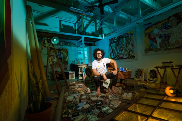 "William Osorio in his Studio at the Bakehouse Art Complex, Miami, FL Photo Credit: Pedro Wazzan. Instagram @pedrowazzan / Portraits from the series, ""In The Studio"""